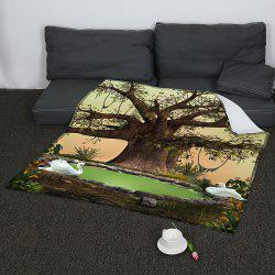 Life Tree Swans Lake Print Coral Fleece Blanket - GREEN W59INCH*L70INCH