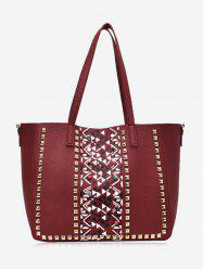 3 Pieces Geometric Studs Tote Bag Set -