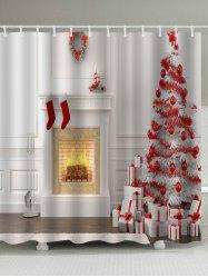 Christmas Tree Fireplace Waterproof Shower Curtain - White - W71 Inch * L71 Inch