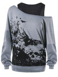 Ink Painting Plus Size Sweatshirt with Tank Top -