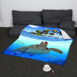 Coral Fleece Sea Turtle Pattern Blanket - BLUE W47INCH*L59INCH
