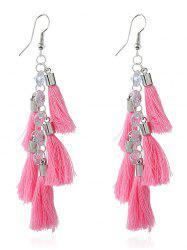 Rhinestone Statement Tassels Chain Earrings - PINK
