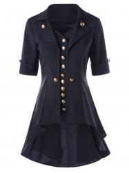 High Low Button Tunic Coat - BLACK M