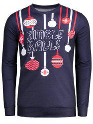 Long Sleeve Christmas Jingle Balls Pattern T-shirt - PURPLISH BLUE 2XL