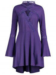 Plus Size Cut Out Long Sleeve Tunic Top - PURPLE XL