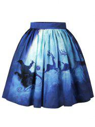 Christmas Moon Santa Claus Elk Print Skirt - BLUE M