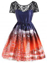 Christmas Tree Vintage Lace Panel Dress - JACINTH S