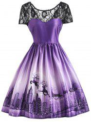Christmas Elk Vintage Lace Yoke Dress -