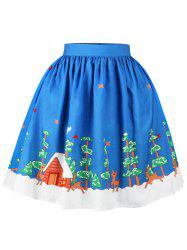Christmas Tree Butterfly Elk Print Skirt - BLUE XL