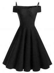 Vintage épaule froide Pin Up robe patineuse - Noir XL