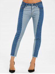 Two Tone Raw Hem Crop Jeans -
