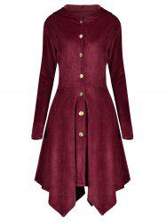 Velvet Asymmetric Plus Size Button Up Hooded Coat - WINE RED 2XL