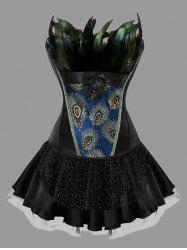 Plus Size Two Piece Feather Corset Dress -