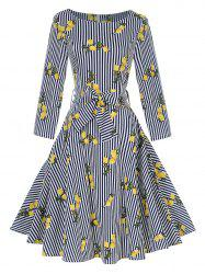 Vintage Striped Lemon Print Pin Up Skater Dress -