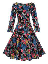 Vintage Tropical Print Pin Up Skater Dress -