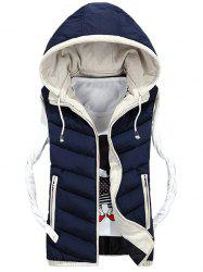 Detachable Hood Zip Up Quilted Vest -