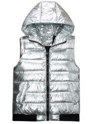 Zip Up Metals Color Hooded Quilted Vest -