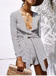 Striped Long Sleeve Plunge Romper -