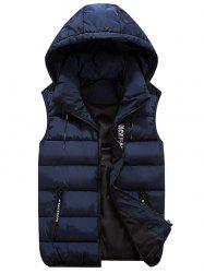 Detachable Hood Zip Pocket Quilted Vest -