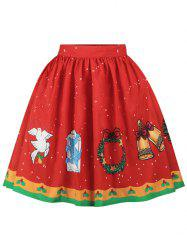 Christmas Bell Bird Printed A Line Skirt -