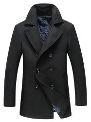 Double Breasted Longline Woolen Peacoat -