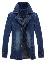 Bleached Effect Ripped Denim Coat -