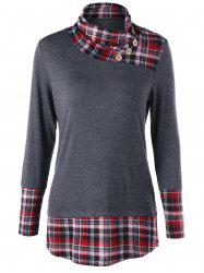 Plaid Hem Tunic Top -