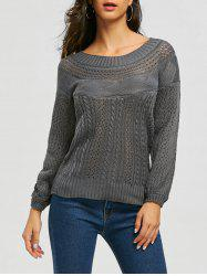 Chic Boat Neck Long Sleeve Pure Color Women's Sweater -