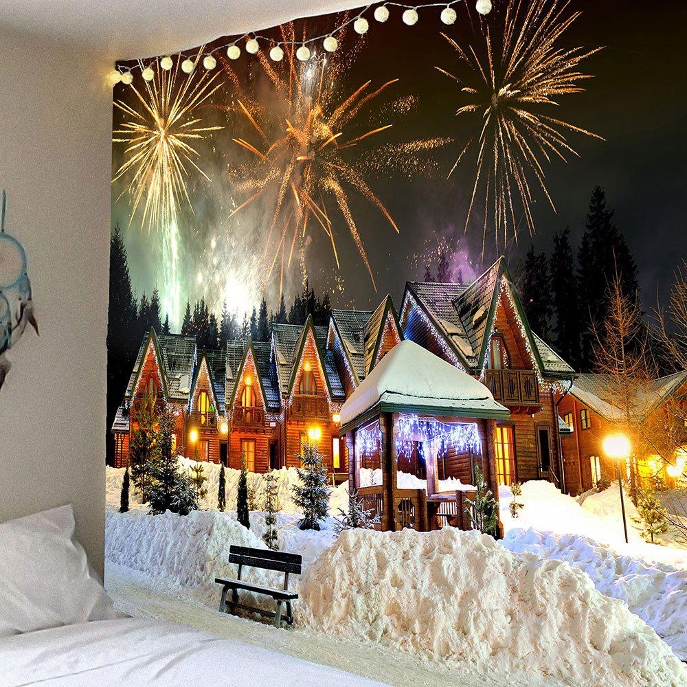 Christmas Fireworks Party Printed Wall Art TapestryHOME<br><br>Size: W91 INCH * L71 INCH; Color: COLORFUL; Style: Festival; Theme: Christmas; Material: Velvet; Feature: Removable,Waterproof; Shape/Pattern: Snow; Weight: 0.4200kg; Package Contents: 1 x Tapestry;