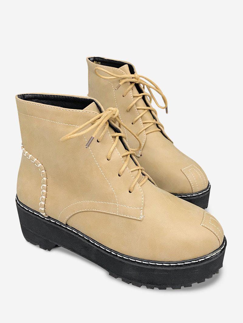 Hot Sewing Thread Lace Up Vintage Ankle Boots
