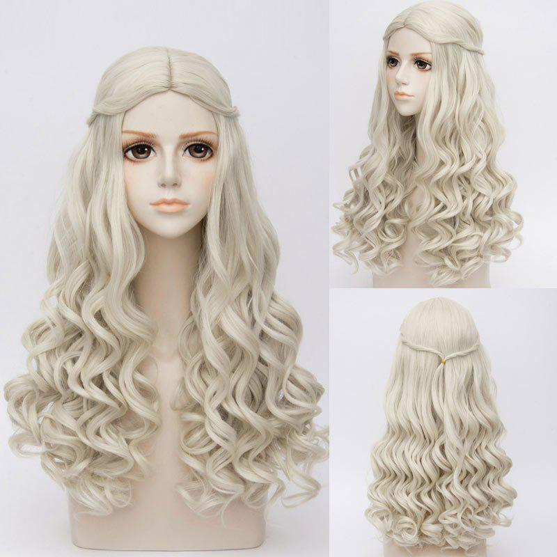 Long Middle Part Wavy Alice in Wonderland White Queen Cosplay Synthetic WigHAIR<br><br>Color: GRAY; Type: Full Wigs; Style: Wavy; Material: Synthetic Hair; Bang Type: Middle; Length: Long; Length Size(CM): 70; Weight: 0.3420kg; Package Contents: 1 x Wig;