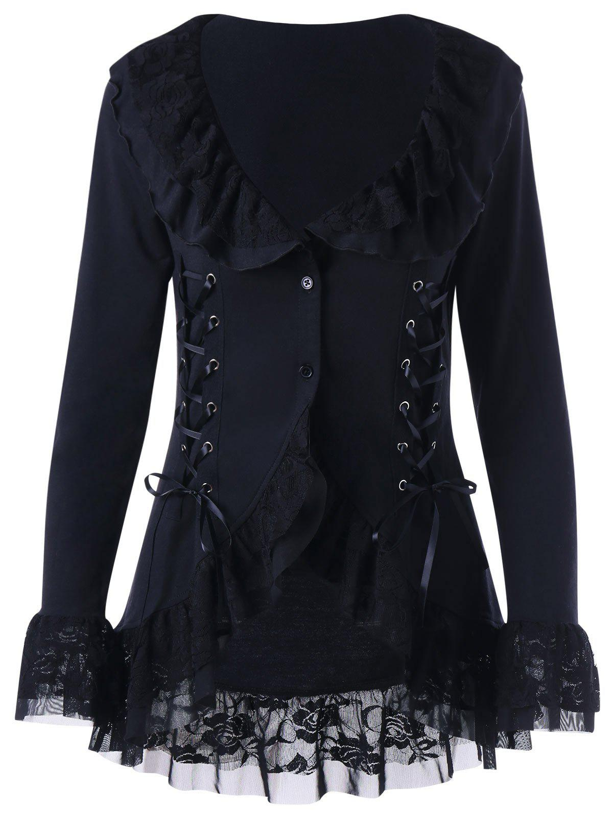 Lace Trim Lace Up Gothic CoatWOMEN<br><br>Size: XL; Color: BLACK; Clothes Type: Others; Material: Polyester; Type: Slim; Shirt Length: Regular; Sleeve Length: Full; Collar: Turn-down Collar; Pattern Type: Floral; Embellishment: Lace; Style: Gothic; Season: Fall,Spring; Weight: 0.3500kg; Package Contents: 1 x Coat;