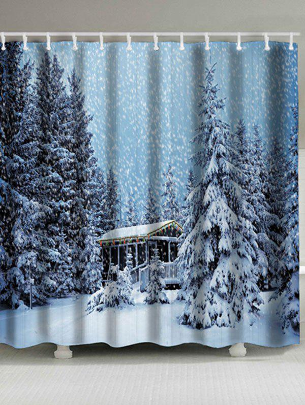 Christmas Snowscape Pattern Waterproof Bath CurtainHOME<br><br>Size: W71 INCH * L71 INCH; Color: PHOTO CYAN; Products Type: Shower Curtains; Materials: Polyester; Pattern: Plant; Style: Festival; Number of Hook Holes: W59 inch*L71 inch: 10; W71 inch*L71 inch: 12; Package Contents: 1 x Shower Curtain 1 x Hooks (Set);