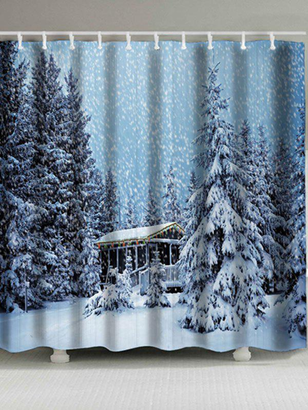Christmas Snowscape Pattern Waterproof Bath CurtainHOME<br><br>Size: W59 INCH * L71 INCH; Color: PHOTO CYAN; Products Type: Shower Curtains; Materials: Polyester; Pattern: Plant; Style: Festival; Number of Hook Holes: W59 inch*L71 inch: 10; W71 inch*L71 inch: 12; Package Contents: 1 x Shower Curtain 1 x Hooks (Set);