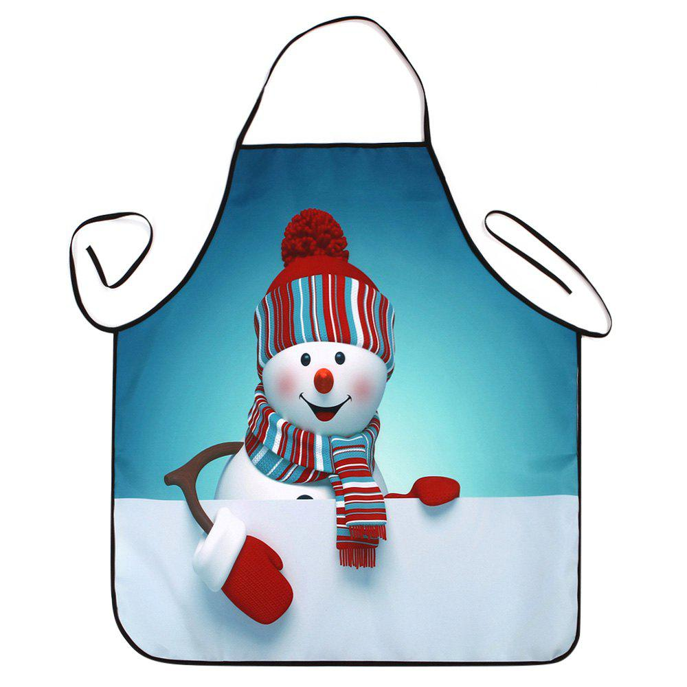 Christmas Snowman Print Waterproof Cooking ApronHOME<br><br>Size: 80*70CM; Color: TURQUOISE BLUE; Type: Apron; Material: Polyester; Weight: 0.0800kg; Package Contents: 1 x Apron;