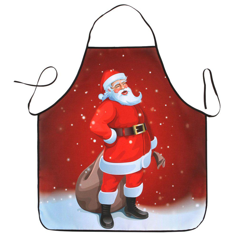 Santa Claus Print Waterproof Christmas Kitchen ApronHOME<br><br>Size: 80*70CM; Color: RED; Type: Apron; Material: Polyester; Weight: 0.0800kg; Package Contents: 1 x Apron;