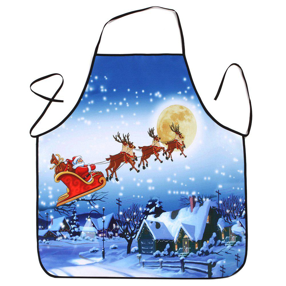 Christmas Moon Santa Sleigh Waterproof Kitchen ApronHOME<br><br>Size: 80*70CM; Color: BLUE; Type: Apron; Material: Polyester; Pattern Type: Moon; Weight: 0.0800kg; Package Contents: 1 x Apron;