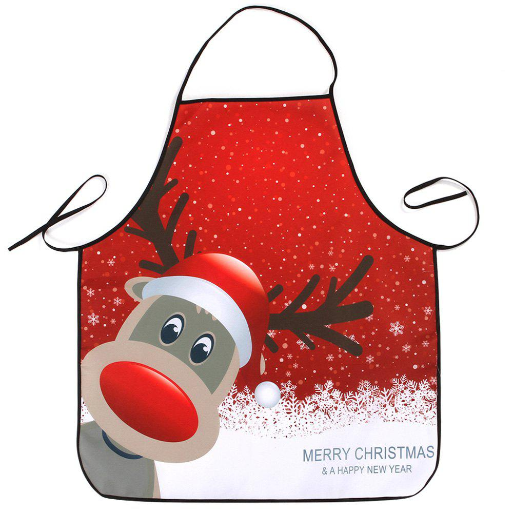 Christmas Deer Printed Waterproof Kitchen ApronHOME<br><br>Size: 80*70CM; Color: RED; Type: Apron; Material: Polyester; Pattern Type: Animal; Weight: 0.0800kg; Package Contents: 1 x Apron;