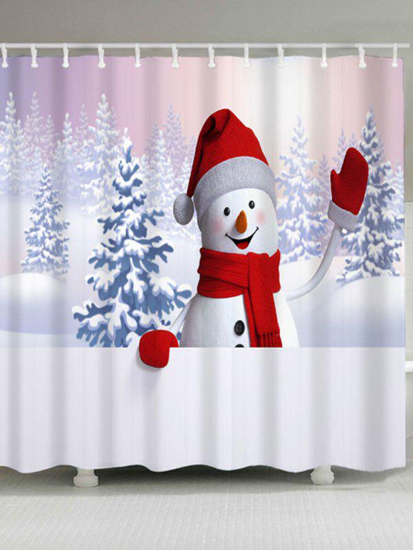 Christmas Snowman Snowscape Waterproof Shower CurtainHOME<br><br>Size: W71 INCH * L71 INCH; Color: WHITE; Products Type: Shower Curtains; Materials: Polyester; Pattern: Snowman; Style: Festival; Number of Hook Holes: W59 inch*L71 inch: 10; W71 inch*L71 inch: 12; Package Contents: 1 x Shower Curtain 1 x Hooks (Set);