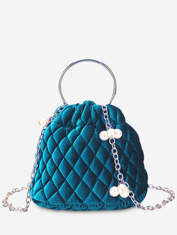 Fancy Faux Pearl Stitching Quilted Crossbody Bag