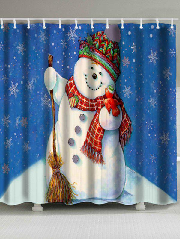 Christmas Snowman Printed Waterproof Bath CurtainHOME<br><br>Size: W71 INCH * L71 INCH; Color: BLUE; Products Type: Shower Curtains; Materials: Polyester; Pattern: Snowflake,Snowman; Style: Festival; Number of Hook Holes: W59 inch*L71 inch: 10; W71 inch*L71 inch: 12; Package Contents: 1 x Shower Curtain 1 x Hooks (Set);