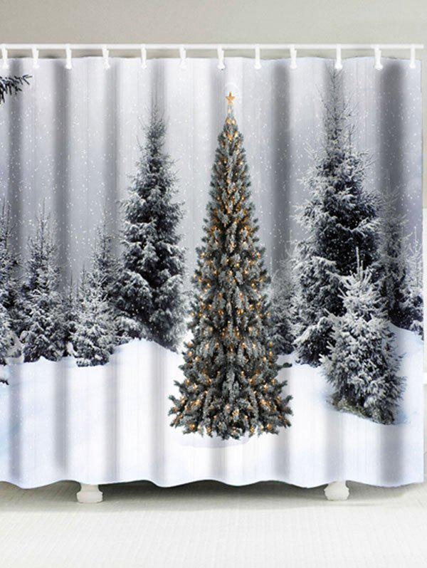 Christmas Snowscape Pattern Waterproof Bath CurtainHOME<br><br>Size: W71 INCH * L71 INCH; Color: GRAY; Products Type: Shower Curtains; Materials: Polyester; Pattern: Scenic; Style: Festival; Number of Hook Holes: W59 inch*L71 inch: 10; W71 inch*L71 inch: 12; Package Contents: 1 x Shower Curtain 1 x Hooks (Set);
