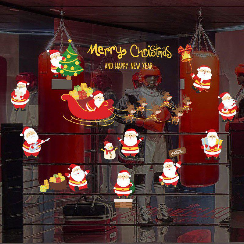 Christmas Santa Claus Pattern Decorative Wall Art StickersHOME<br><br>Size: 45*60CM; Color: COLORMIX; Wall Sticker Type: Plane Wall Stickers; Functions: Decorative Wall Stickers; Theme: Christmas; Pattern Type: Santa Claus; Material: PVC; Feature: Removable; Weight: 0.1152kg; Package Contents: 1 x Wall Stickers;