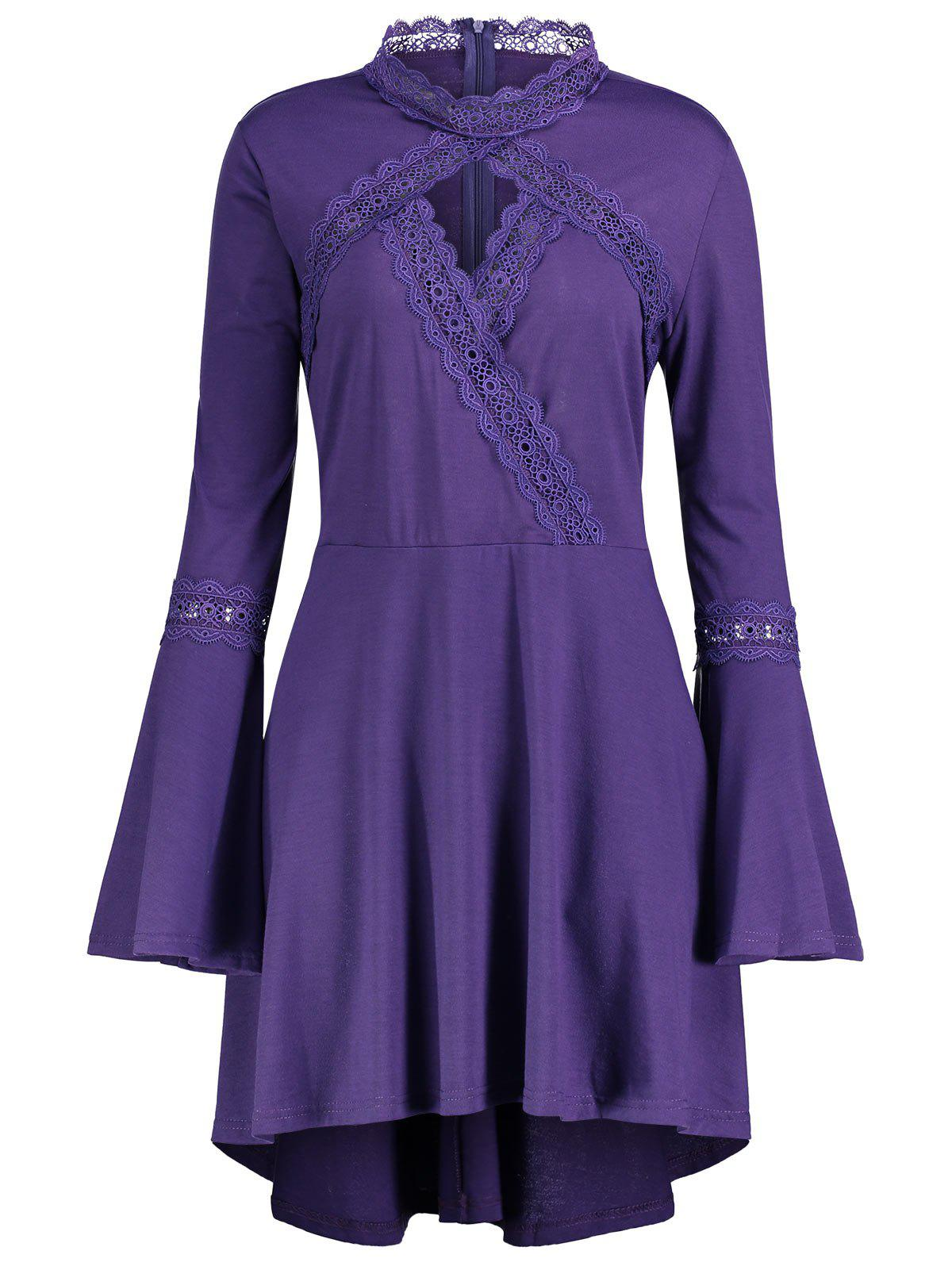 Plus Size Cut Out Long Sleeve Tunic TopWOMEN<br><br>Size: 5XL; Color: PURPLE; Material: Polyester,Spandex; Shirt Length: Long; Sleeve Length: Full; Collar: Mock Neck; Style: Fashion; Season: Fall,Spring; Pattern Type: Solid; Weight: 0.3700kg; Package Contents: 1 x Top;