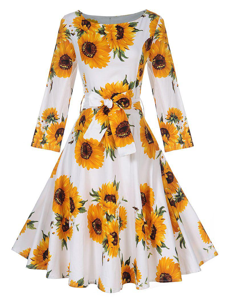 Vintage Sunflower Print Skater Pin Up DressWOMEN<br><br>Size: S; Color: YELLOW; Style: Vintage; Material: Cotton,Polyester; Silhouette: A-Line; Dresses Length: Knee-Length; Neckline: Round Collar; Sleeve Length: 3/4 Length Sleeves; Pattern Type: Floral; With Belt: Yes; Season: Fall,Spring; Weight: 0.4000kg; Package Contents: 1 x Dress   1 x Belt;