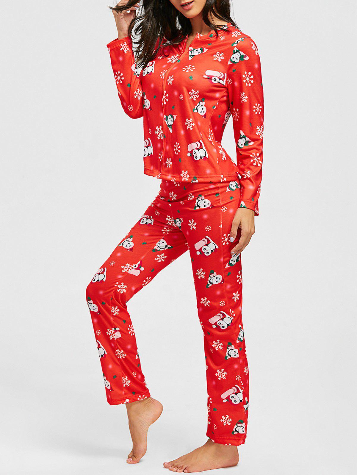 Christmas Snowflake Print Zip PJ SetWOMEN<br><br>Size: M; Color: RED; Material: Cotton,Polyester; Pattern Type: Print; Weight: 0.4100kg; Package Contents: 1 x Top  1 x Pants;