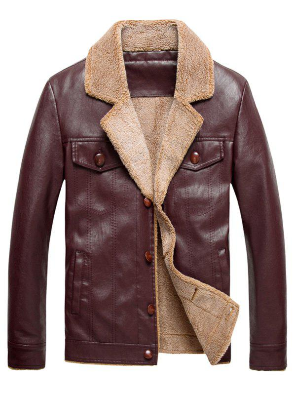 Veste en Cuir PU Molletonné à Boutonnage Simple Rouge vineux  3XL