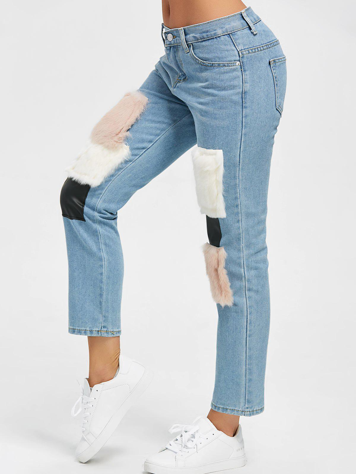 Online Faux Fur Print Ninth High Waist Jeans