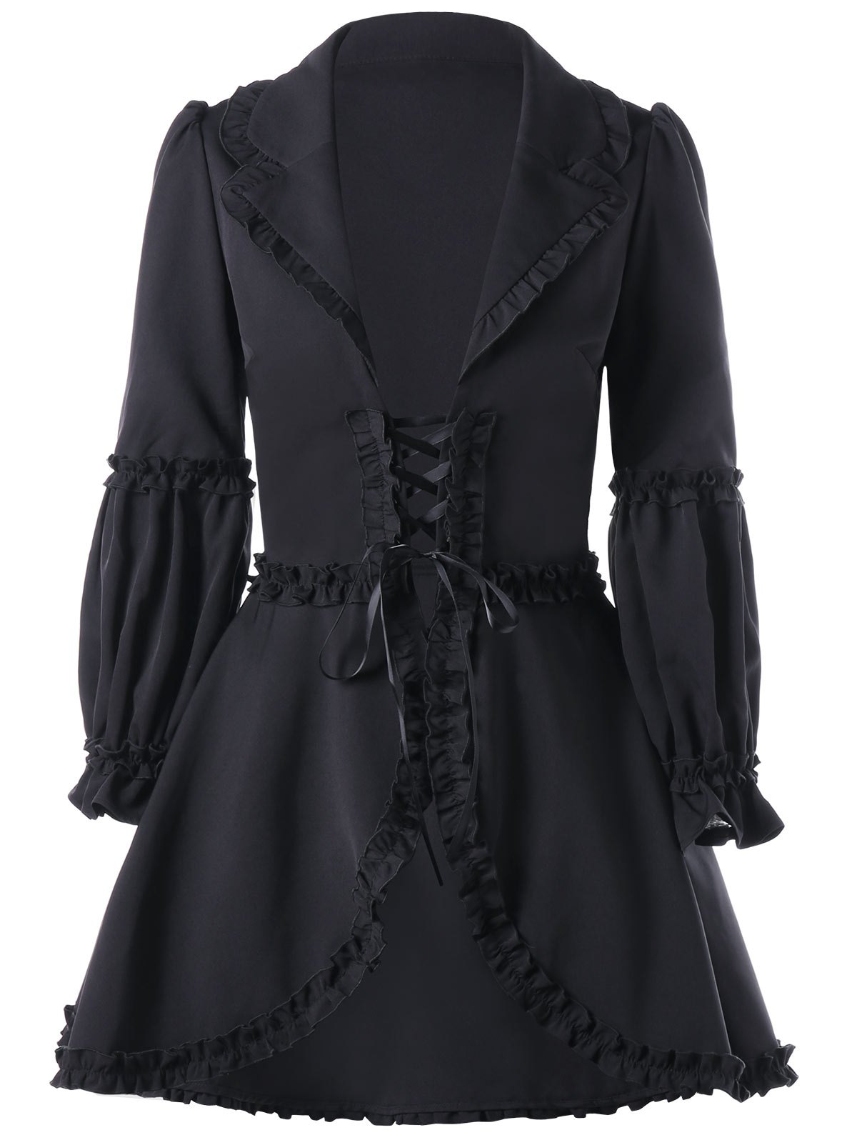 Outfits Lapel Collar Ruffle Lace Up Coat