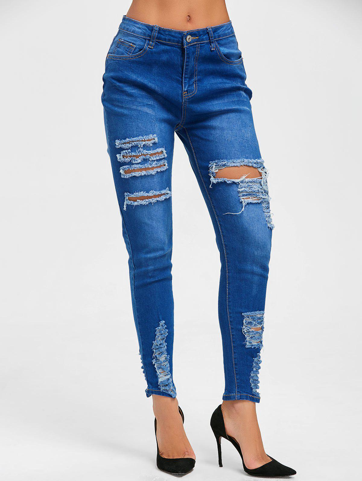 High Rise Distressed Denim JeansWOMEN<br><br>Size: 2XL; Color: BLUE; Material: Cotton,Polyester; Length: Normal; Fabric Type: Denim; Wash: Destroy Wash; Fit Type: Skinny; Waist Type: High; Embellishment: Pockets,Ripped; Weight: 0.5700kg; Package Contents: 1 x Jeans;